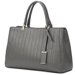 Women Bags Loved Gray Genuine Leather Women Handbags Famous Brand Striped Large Tote Bag