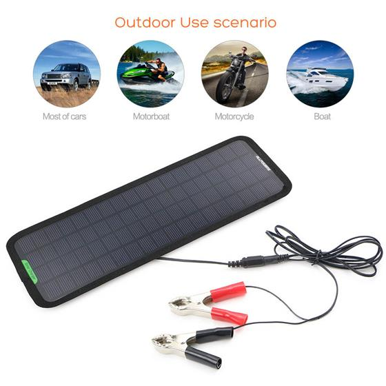 18V 5W outdoor Portable Solar Car Charger Solar Maintainer Charging for Car Automobile Motorcycle Boat Batteries, ALLPOWERS smart energy saving